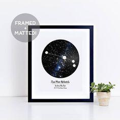 Custom Framed Zodiac Sign & Night Sky Print Astrology Print