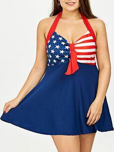 387548d7749 Plus Size Stars Stripes Halter American Flag Patriotic Tankini Set -  PURPLISH BLUE 5XL Clothing Sites