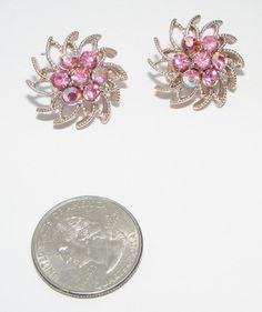 Vintage Coro Pink & ab rhinestone Flower EARRINGS clip ons costume jewelry