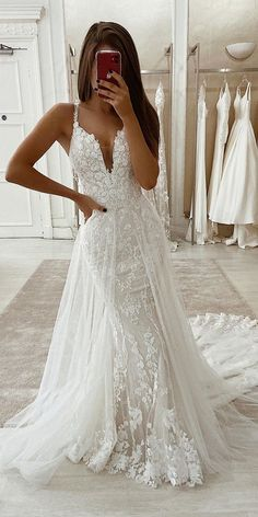 wedding dresses * wedding dresses - wedding dresses lace - wedding dresses vintage - wedding dresses ball gown - wedding dresses simple - wedding dresses mermaid - wedding dresses with sleeves - wedding dresses a line Wedding Dress Tight, Fit And Flare Wedding Dress, Wedding Dress Trends, Long Sleeve Wedding, Modest Wedding Dresses, Bridal Dresses, Floral Dresses, Wedding Ideas, Geek Wedding