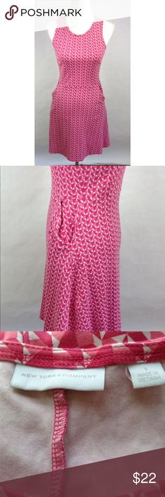 New York & Company Pink White  Dress Nice to wear in the summer time.The dress has pockets and it's in nice condition.  Measurement   Chest -16 Inches from underarm to underarm. Waist- 14 1/2 Inches from across. Length- 34 Inches from top to bottom.  Bin 8#1 New York & Company Dresses