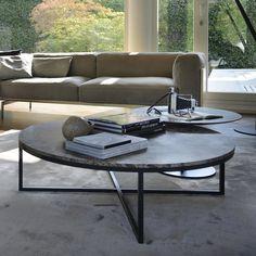 modern designer round nesting marble coffee tables - black steel