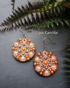 """First pair mandala earrings from new collection """"The breath of autumn"""", with 3D hand painted mandalas. Very light, wooden base, acrylic colors, varnish and medical steel. _________ 22.15$ with free shipping worldwide by Mandala Fairy 