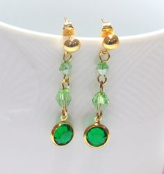 Green crystal  gold plated stud drop earrings green by jewlerystar
