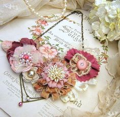 Flower Bib Statement Necklace ~ Romantic in Pink