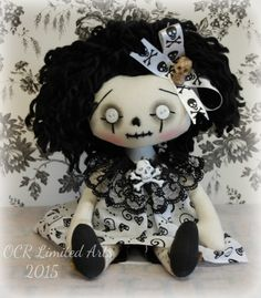 Gothic little EBONY Rag Goth Tattered goth spooky cute emo Halloween collectible by OCRLimitedArts on Etsy