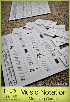 Learning to Read Music Notation & Symbols: Free 60-Piece Matching Game (pdf)