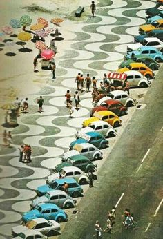 At the Copa, Copacabana. the copacabana promenade, designed by roberto burle marx, rio de janeiro, Copacabana Beach, Op Art, Vw Beach, Beach Cars, Beach Travel, Kdf Wagen, Vw Vintage, Vintage Photos, Love Bugs
