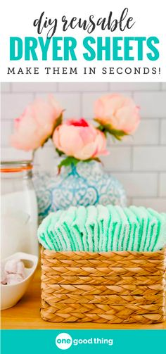 Stop wasting your money on store-bought dryer sheets and make your own instead! These easy-to-make homemade dryer sheets leave your clothes feeling soft and smelling great, and you can reuse them dozens of times too! ~ One Good Thing Homemade Cleaning Supplies, Diy Home Cleaning, Cleaning Recipes, Diy Cleaning Products, Cleaning Hacks, Cleaning Solutions, Laundry Solutions, Diy Products, Green Cleaning