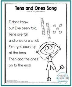 Teaching Place Value, Tens and Ones Song Ideas for inquiry-based teaching and implementing the PYP. Math and literacy resources for the primary classroom. Math Classroom, Kindergarten Math, Teaching Math, Preschool, Classroom Decor, Primary Teaching, Teaching Ideas, Primary School, Fun Math