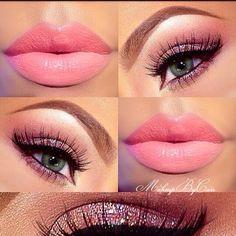 Pink lips & Eye shadow