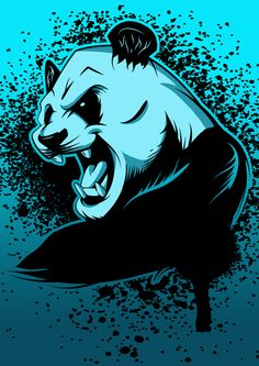 Mad Panda by Chris Garcia, via Behance Cute Girl Poses, Cute Girls, Trill Art, Ju Jitsu, Crane, Game Logo, Cute Panda, Futuristic, Screen Printing