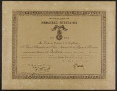 Grande collecte 14-18, Hippolyte Aubert : un diplôme de la médaille militaire ; un extrait de citation à l'ordre du régiment ; 4 médailles militaires ; un rouble à l'effigie d'Alexandre III ; portrait individuel et groupes de soldats dont des brancardiers, et des blessés avec leurs infirmières (4 photographies), 1914-1918.