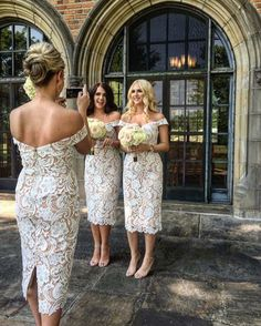 Pretty #bridesmaids in the Stella Dress #whiterunway #lovehonor #lace #wedding…