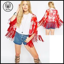 Cropped Kimono in Red Floral Print with Fringing Best Buy follow this link http://shopingayo.space