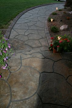 """Re-modeled Front Porch and Walk, Front porch and walkway resurfaced with """"Stamped"""" concrete, Porches  Design"""