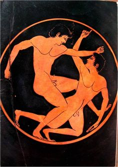 Detail of ancient Greek cup with two athletes wrestling, by Epictetos Ancient Greek Sculpture, Ancient Greek Art, Ancient Greece, Ancient Olympics, 7 Arts, Greece Art, Classical Greece, Greek Pottery, Queer Art