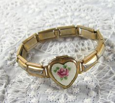 Child's Gold Bracelet, Enamel Rose Heart Locket-I had one just like it!