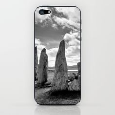 Callanish Stones iPhone & iPod Skin by Regina Hoer - $15.00  Standing Stones of Callanish (Callanish I)  - Lewis - Scotland    #standing stones  #Callanish #bw #Lewis #stonecircle #megaliths #Scotland #OuterHebrides #ancient #landscape  #blackandwhite #megalit #neolithic #AncientSites #Photography #black & white