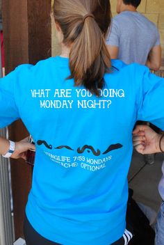 "Young life mustache shirt: ""what are you doing monday night?"" #design"