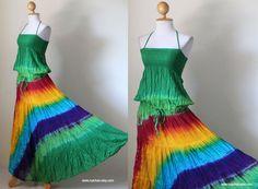 $49.00 Boho Gypsy Hippie Tie Dye Smock Long Maxi Dress