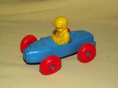 VINTAGE RACER PLASTIC SOAP BOX DERBY RACE CAR MIDGET BLUE RED WHEELS YELLOW BOY #Unbranded