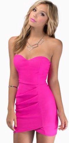 Strapless hot pink mini