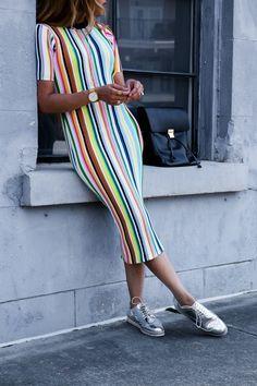 Colorful striped dress trendy fashion, spring fashion, fashion tips, fashio 1950s Jacket Mens, Cargo Jacket Mens, Bomber Jacket, Leather Jacket, Trendy Fashion, Fashion Outfits, Womens Fashion, Fashion Trends, Fashion Spring