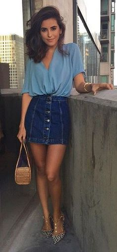 Cute Denim Skirt, Denim Jacket, Spring Denim, Winter Denim, Women's Fashion, Style Inspo  Sazan