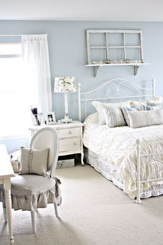 white and blue Shabby Chic Bedroom