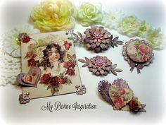 Prima Tales of You and Me Handmade Paper Embellishments and Paper Flowers for Scrapbook Layouts Cards Tags Mini Albums and Paper Crafts by mydivineinspiration on Etsy