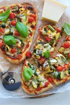 Grilled Veggie Naan Pizzas (Uses prepared Naan & veggies cooked on grill or George Foreman...)