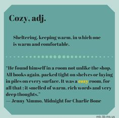 #HappyBirthday to author Jenny Nimmo.  The #wordoftheday comes from her novel Midnight for Charlie Bone. #cozy #books