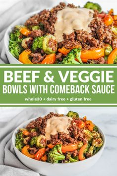 Throw together Beef & Veggie Bowls with Comeback Sauce when you need a quick tasty dinner! Easy and satisfying! Throw together Beef & Veggie Bowls with Comeback Sauce when you need a quick tasty dinner! Easy and satisfying! Side Dish Recipes, Healthy Dinner Recipes, Whole Food Recipes, Clean Eating Dinner Recipes, Eat Clean Dinners, Cooking Recipes, Quick Easy Healthy Dinner, Quick Paleo Meals, Cheap Healthy Dinners