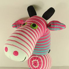 Free Shipping Handmade Pink Striped Sock by supersockmonkeys, $19.99