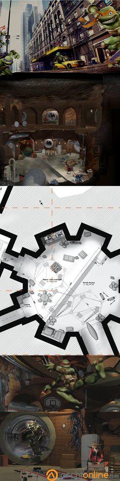 Découvrez la cachette des quatre Tortues-Ninjas. Situé dans les égouts de New-York, l'endroit semble méconnu du public mais se situe à quelques pas de l'agitation de Manhattan. Ce repère est un véritable endroit d'adolescent avec des boîtes de pizzas jonchées sur le sol et des skateboards. Téléchargez sans plus attendre, les plans de ce repère hors norme.  #architecture #design #maison #superhéros #plan