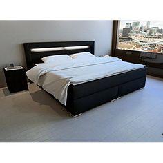 Chambre à coucher complète LUCCA design laqué brillant noir et blanc lit 160x200, table de nuit et commode: Amazon.fr: Cuisine & Maison