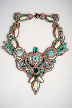 Jade Dragonfly  fancy soutache competition necklace in taupe