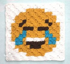 Tears of Joy Emoji C2C Crochet Square and Pixel Graph