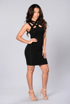 - Available in Black and Lilac Grey - Sleeveless - Fitted Dress - Multiple Strapped Neckline - 95% Rayon 5% Spandex