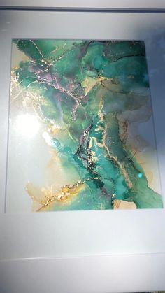 Alcohol Ink Crafts, Alcohol Ink Painting, Alcohol Ink Art, Golden Highlights, Resin Wall Art, Art Painting Gallery, Brio, Green Art, Epoxy