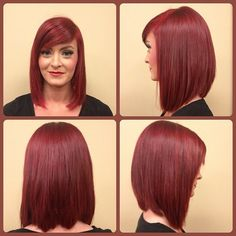 Created this New look for a friend and LOVED it! #angledbob #matrix #redhair #sidesweptbangs #hair #transformationcut #haircut #hairstyle #haircolor