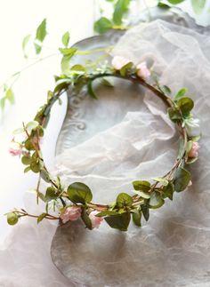 Boho flower crown eucalyptus crown blush pink floral crown