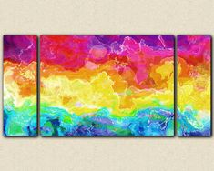 "Abstract wall art stretched canvas print, 30x60 to 40x78 in bright colors, from abstract painting ""Rainbow Connection"""