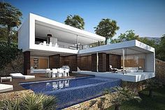 Modern house - CGI Product Rendering of Modern Home with Pool Villa Design, Modern House Design, Beautiful Architecture, Contemporary Architecture, Modern Contemporary, Modern Luxury, Residential Architecture, Interior Architecture, Modern Interior