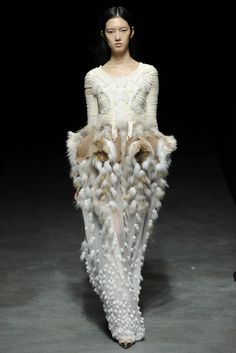 Dusty, moth inspired dress with sculptural silhouette & elaborate 3D textures - structured symmetry.