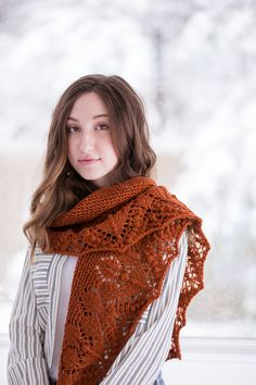 """Raake garter, lace and bobble scarf or shawl by Susanna IC. Shown in color """"Embers"""". From Brooklyn Tweed's """"Wool People 9"""" Collection. Photographed by Jared Flood. #woolpeople9 #brooklyntweed #madeinUSA #shelteryarn #loftyarn #raake #scarf #shawl"""