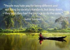 """""""People may hate you for being different and not living by society's standards, but deep down, they wish they had the courage to do the same."""" ~Author Unknown"""