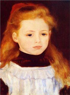 Little Girl in a White Apron (Portrait of Lucie Berard) - Pierre-Auguste Renoir