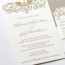 feather modified wedding invitation printed in gold thermography